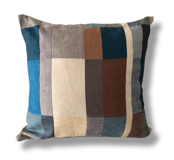 Geometric Blocks in Teal and Brown Cushion