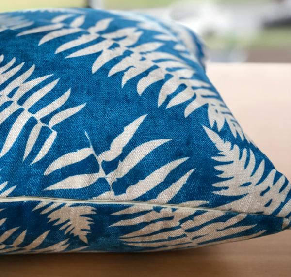 Bright Blue Leafy Cushion