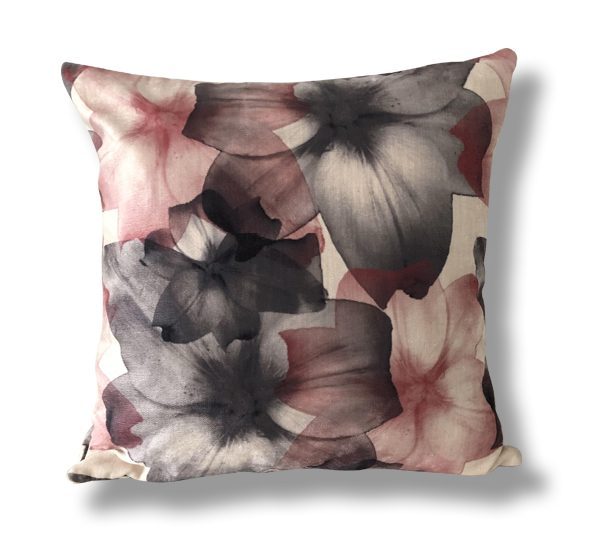 Pink and Black Flower Print Cushion