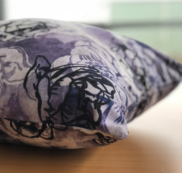 Purple and Black Floral Cushion