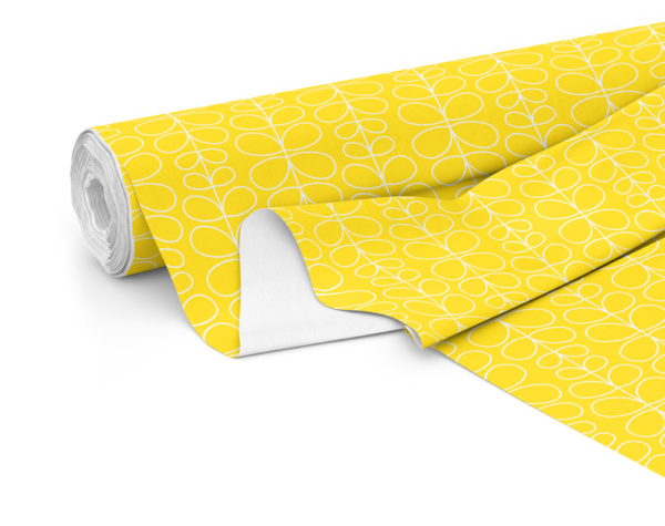 Fabric roll with Fern print in Lemon